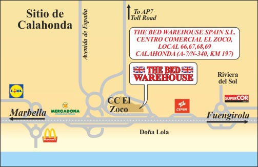 Map to The Bed Warehouse Spain